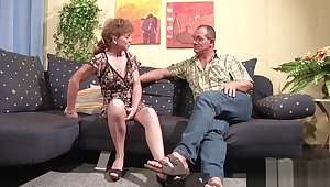 71yr old Hairy Granny fucks all over German Man in Casting