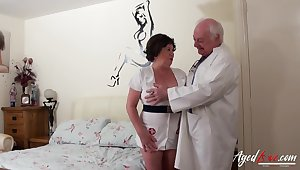 Elderly nurse cums to life with an old perverted doctor