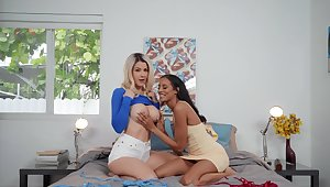 Lesbians in enticing scenes of home voiced mating