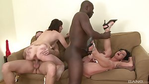 Wives shares wide of their men close by merciless foursome on a couch