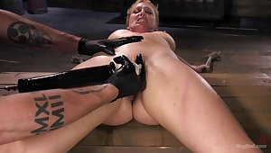 Pleasure and pain for submissive Cherie DeVille to a Dom's dungeon