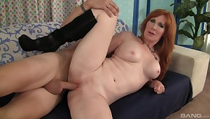 Fine ass redhead fucked plus made to swallow away from her stepson