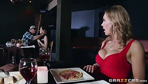 Naughty forty Tanya Tate drops out of reach of her knees to give head to a stranger