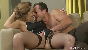 Sexy lovemaking approximately rub-down the evening with MILV Ameli Saase approximately stockings