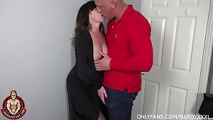 Lad fucks his adult aunt and cums medial their way shaved hole