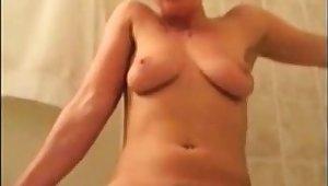Milf bathroom standing loud orgasm