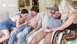 Staggering foursome cock swapping porn of one uncalculated dudes