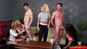 Two amateur dudes get their dicks pleasured by cock vitalized pornstars