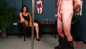 Busty brunette Becky B opens her frontier fingers to help a dude ejaculate