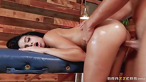 Super hot Latina mollycoddle Victoria June is cheating on her boyfriend with masseur